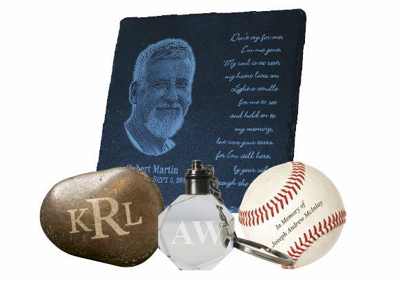 Laser engraved memorial gifts