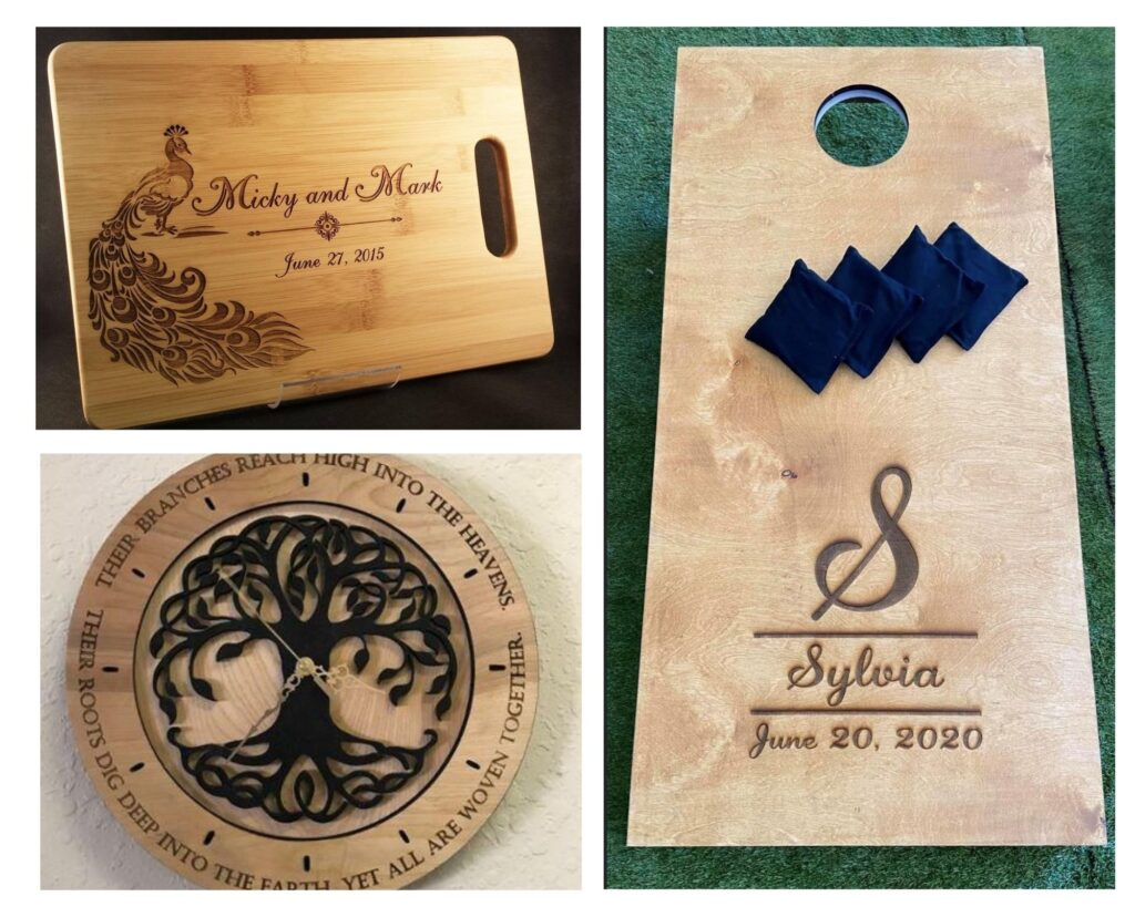 laser engraved cutting board, clock and bean bag toss