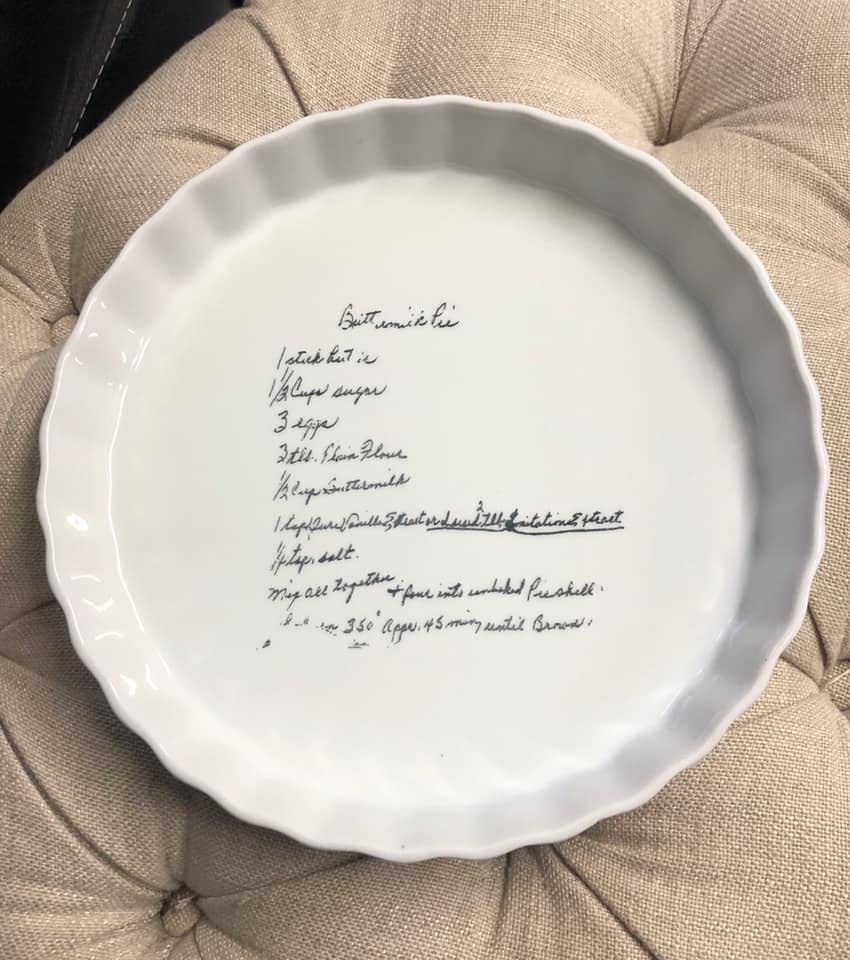 SandS Lazer Engraving pie dish recipe