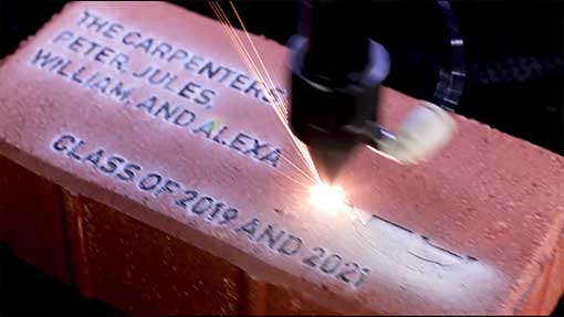 photo of brick engraving