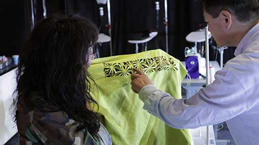 photo of fabric cutting
