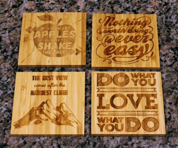 """Bamboo Coasters 4""""x4"""" (Set of 4 with Bamboo Holder)-1130"""