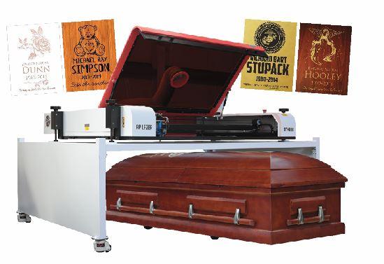 Laser engraved casket