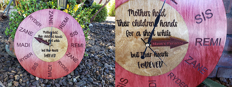 Mother's day laser engraved clock