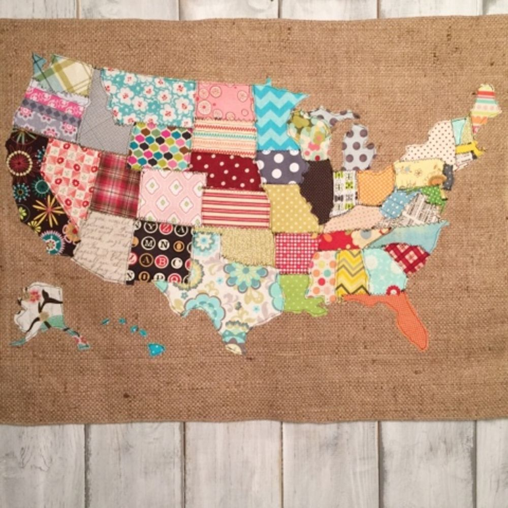 fabric scraps make something with it i made a scrap map crafts how to repurposing upcycling