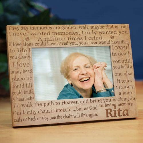 Laser engraved memorial keepsakes