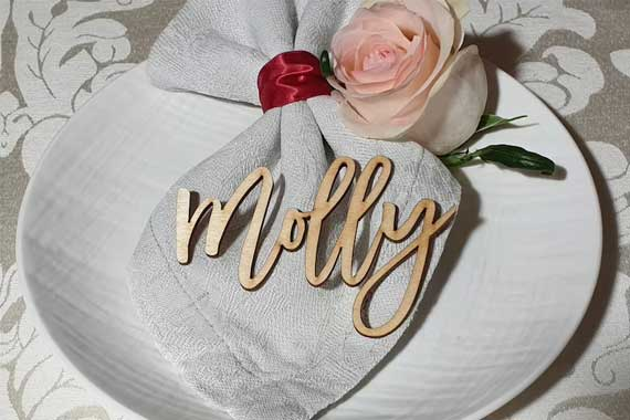 laser cut wood placecard