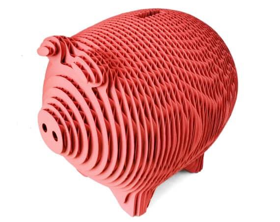 laser cut cardboard piggybank