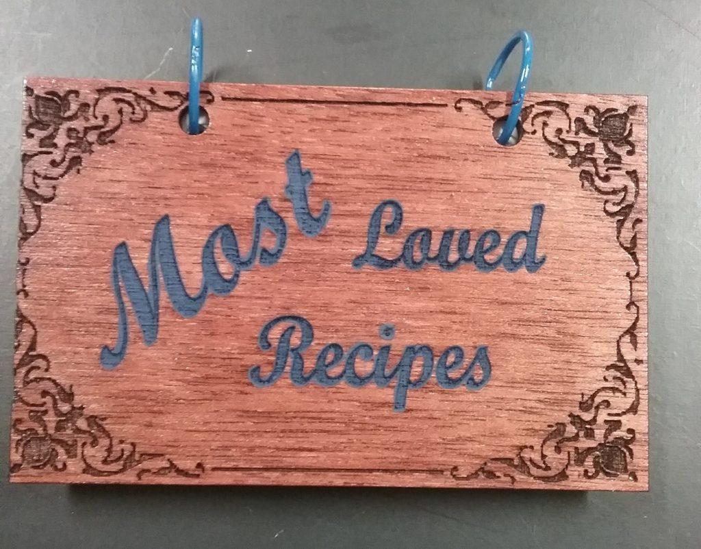 Laser engraved recipe book