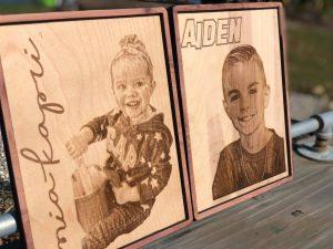 Laser engraved portraits