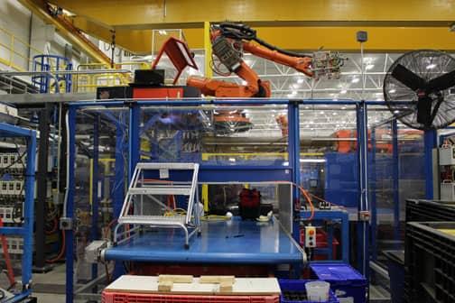laser machine over conveyer