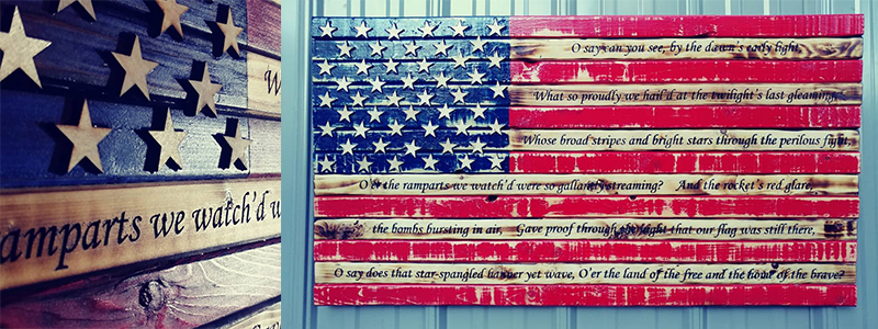 laser engraved wooden American Flag